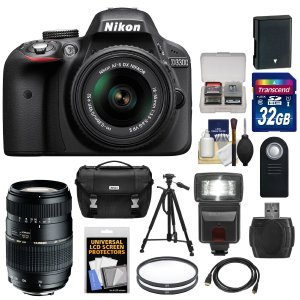 Nikon D3300 Digital SLR Bundle with Two Lens (18-55mm55-300mm)