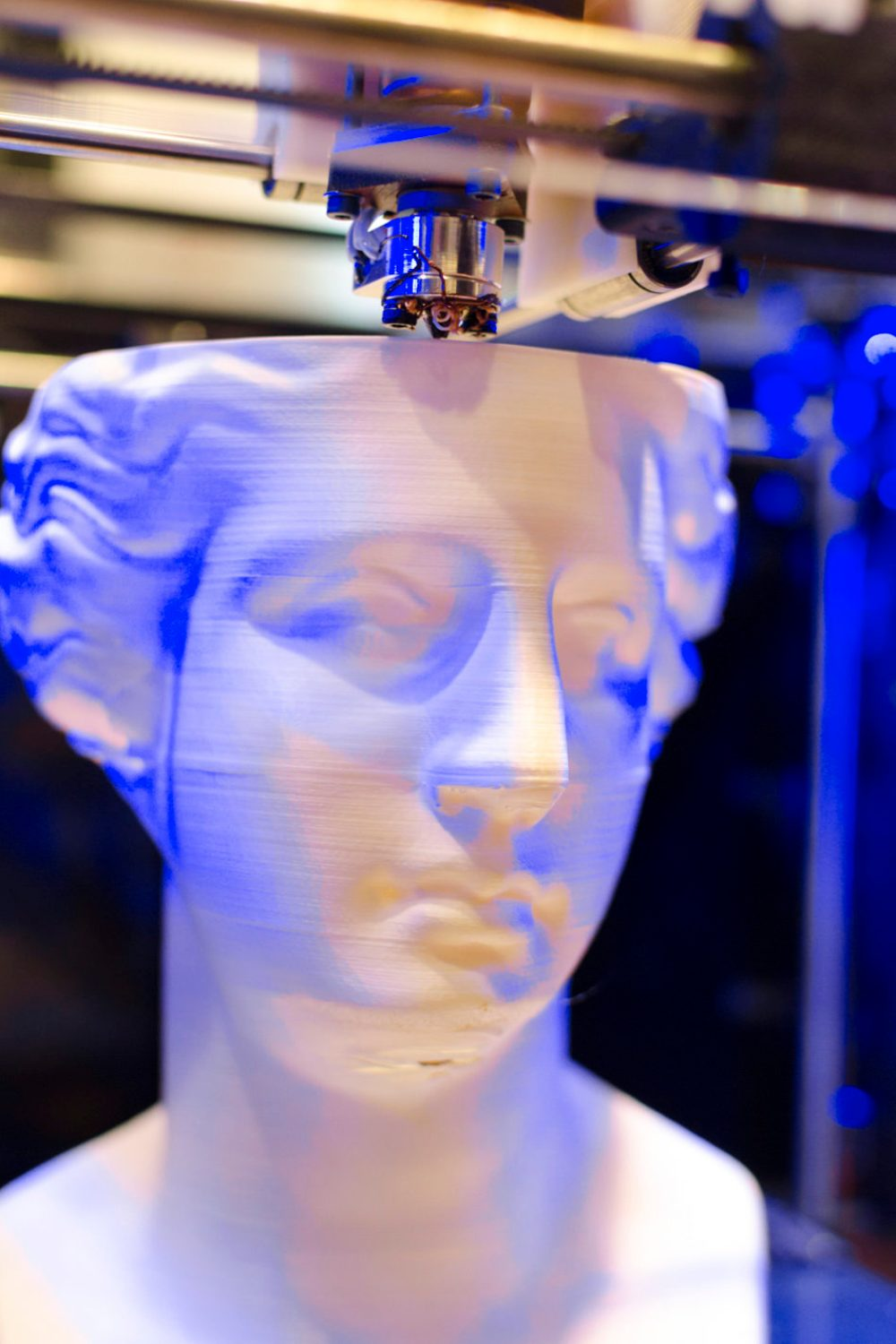 Plastic head printed on 3D printer.