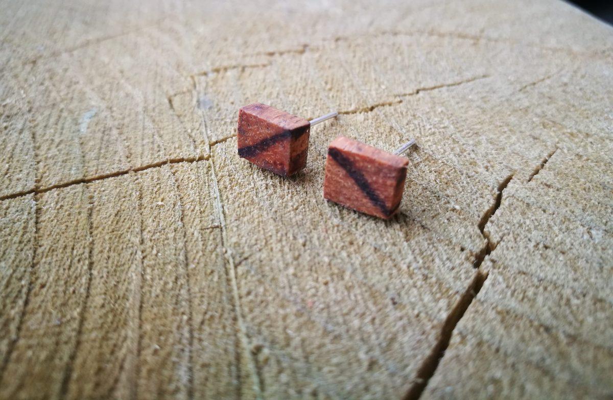 Dřevěné náušnice - Zebrano #kusovka