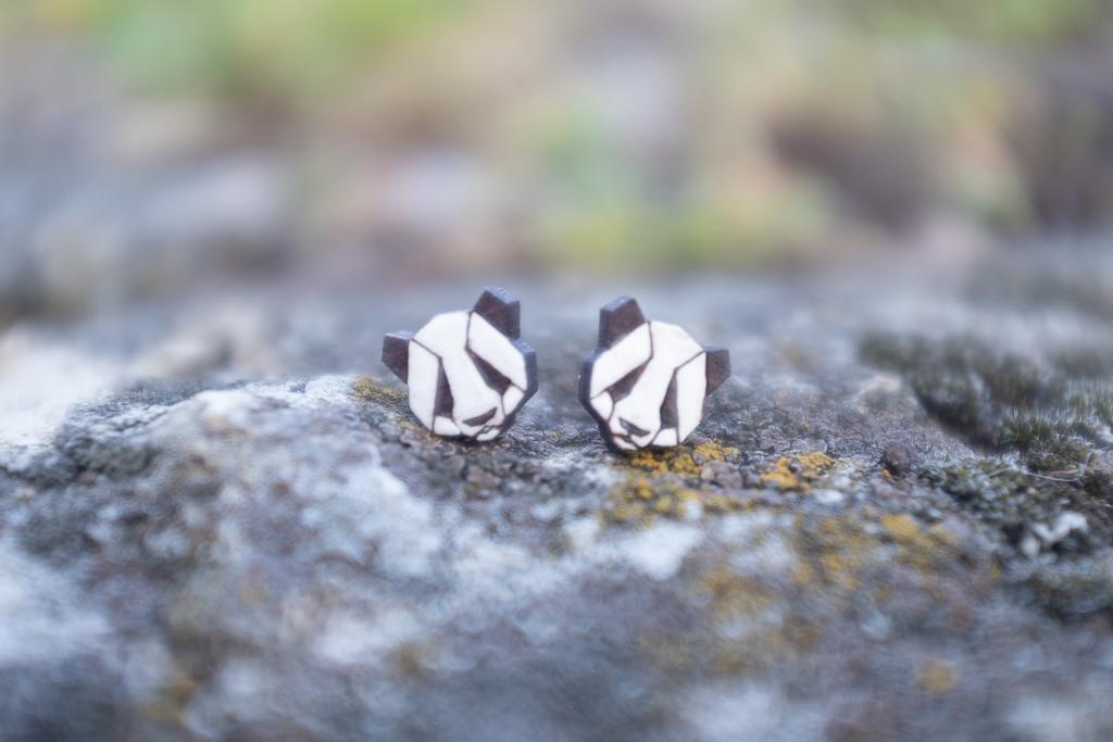Dřevěné náušnice - Panda