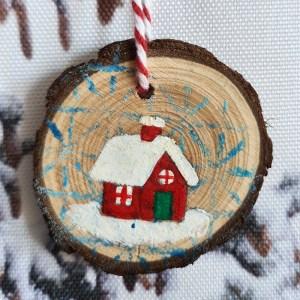 wintry house - sponge print bg