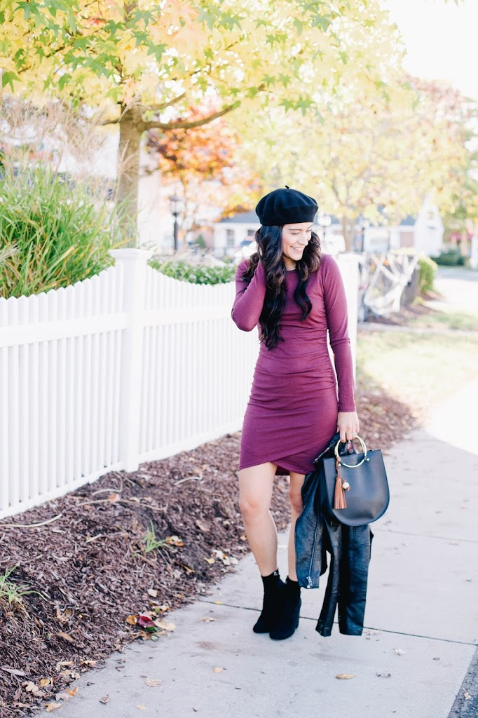 This is an image of The Must Have Fall Dress - Leith Ruched Long Sleeve Dress in Red Tannin