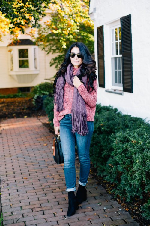 Pink Chenille Sweater + Plum Scarf