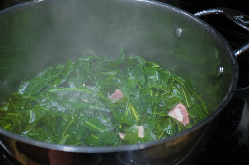 Collards cooking