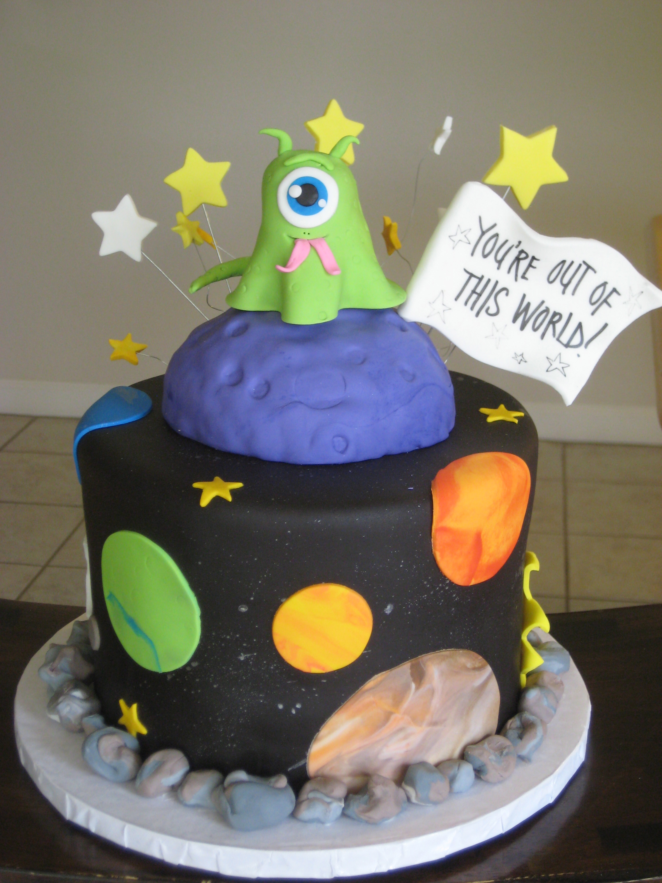 Outer Space Alien Cake