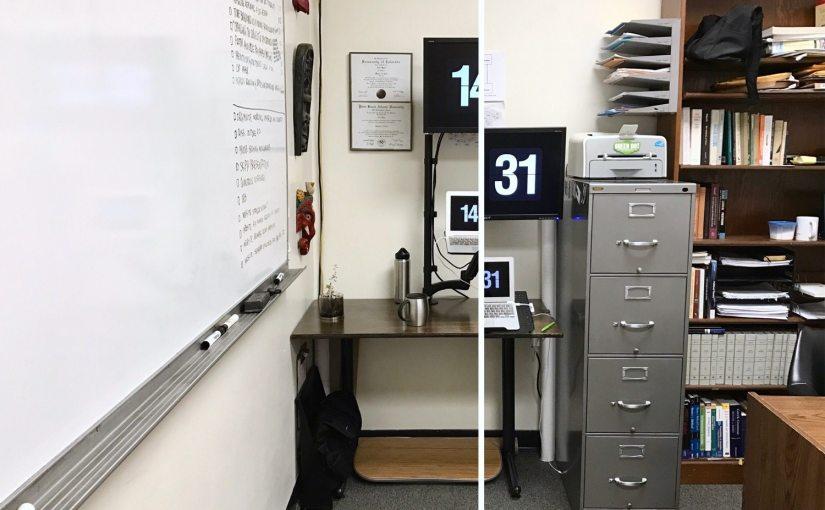 Nick Byrd's sit-stand desk.