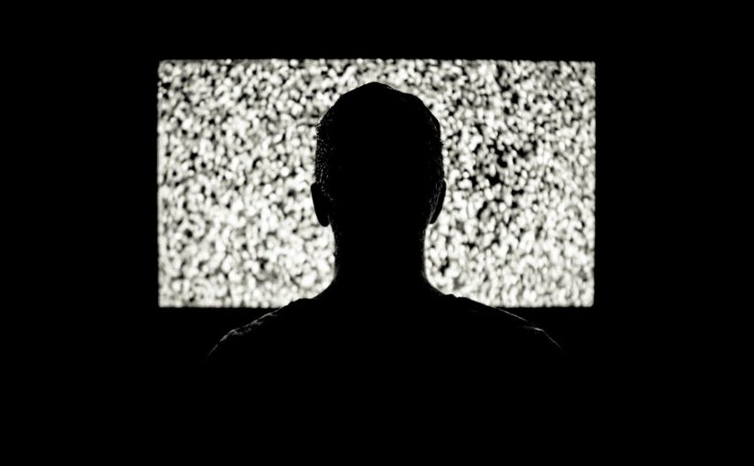 Silhouette of the back of someone's head in front of a television.