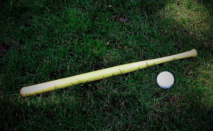 A wiffel bat and ball lying in grass.