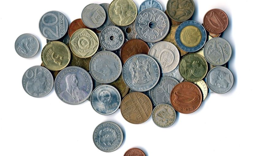 A picture of coins from various places around the world.