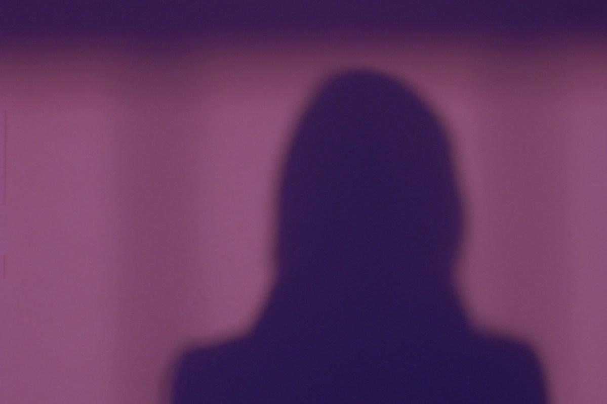 shadow portrait, shoulders up, purple shadow, purple background