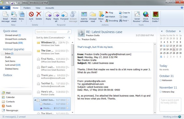 Gestor de cuentas Windows Live Mail