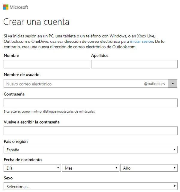 Cómo crear una cuenta de Hotmail f