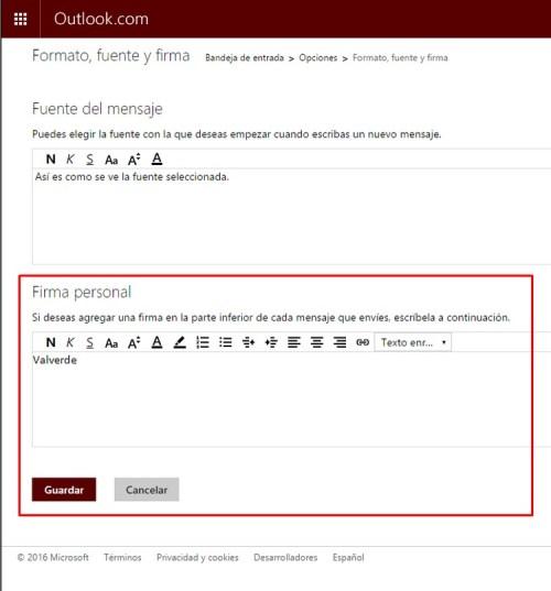 Cómo agregar una firma en Hotmail b