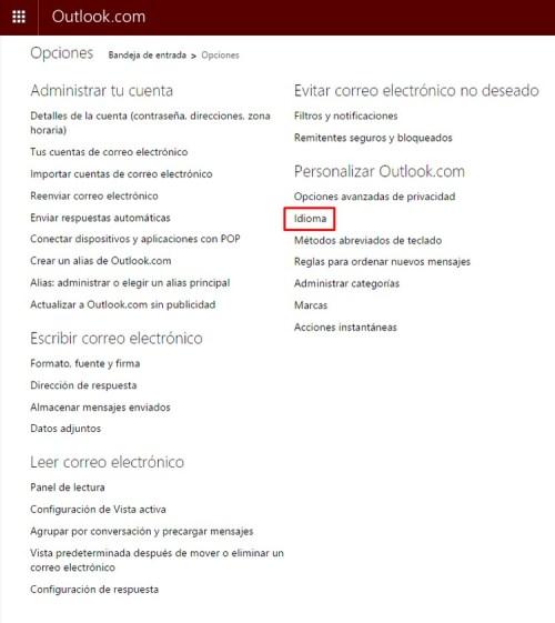 Cómo cambiar el idioma de Hotmail b