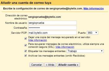 Gmail configuración cuenta externa