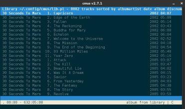 Librería ordenada - Accesible con la tecla 2 (El orden se determina con los filtros de la vista 6)