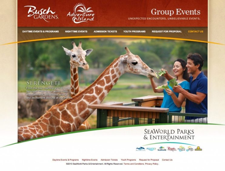 Busch Gardens Group Events Website