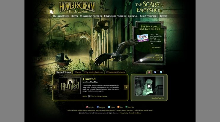 Busch Gardens Williamsburg Howl-O-Scream Website