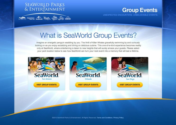 SeaWorld Group Events Website