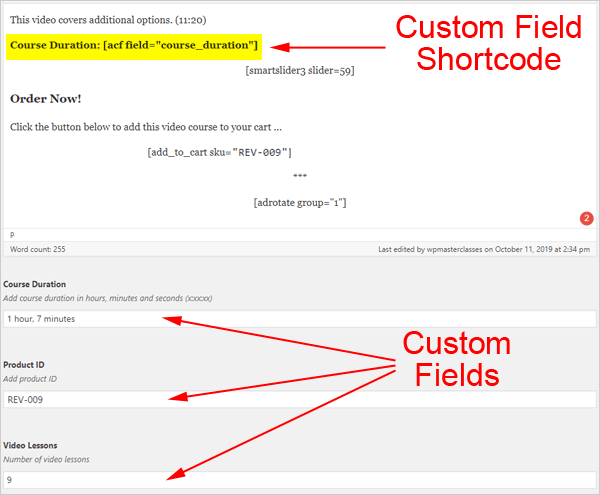 Custom fields in post editor screen.
