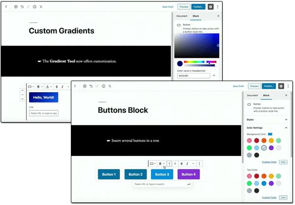 A composite screenshot of Gutenberg Custom Gradients and Buttons Block.