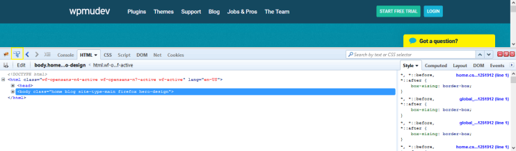 The Firebug developer console in Firefox.
