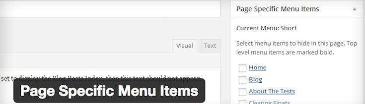 Page Specific Menu Items plugin