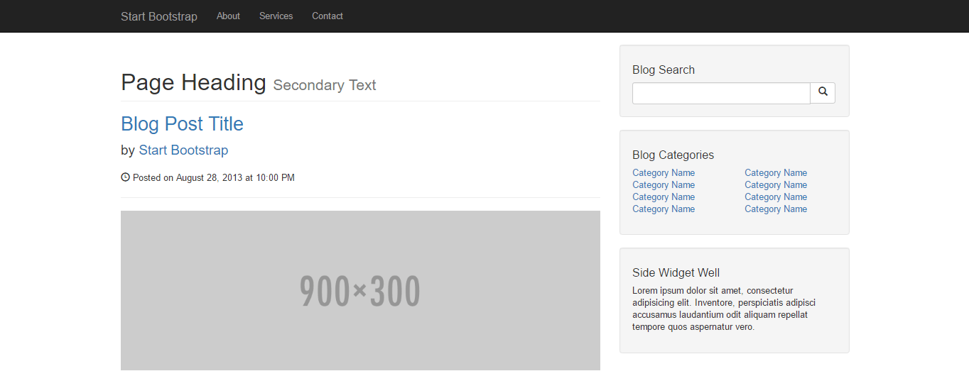 screenshot of the blog home template by startup bootstrap