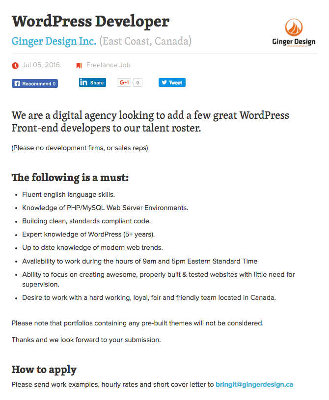 A job listing on the Smashing Magazine website.