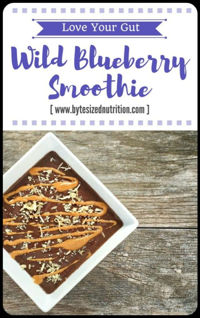 Give your gut the love it deserves... starting with this Wild Blueberry Smoothie! Made with kefir, wild blueberries, and banana, it's full of probiotics, fiber and other important nutrients to help keep digestive issues at bay. www.bytesizednutrition.com