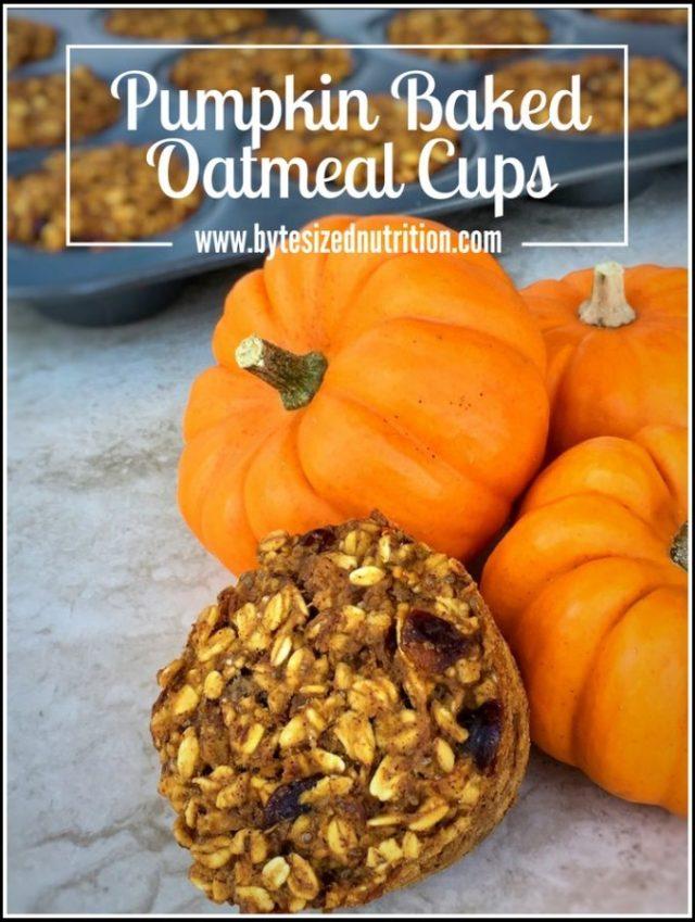 Pumpkin Baked Oatmeal Cups (Vegan & Gluten Free) | The perfect grab & go breakfast! www.bytesizednutrition.com