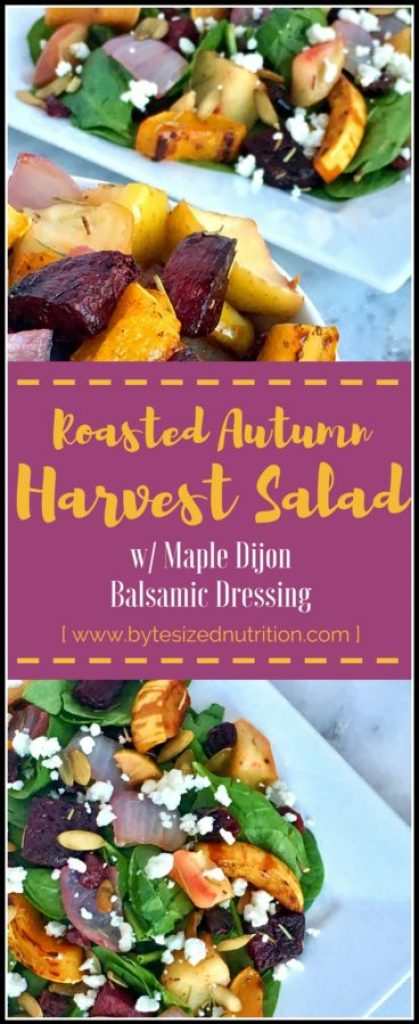 Roasted Autumn Harvest Salad | A salad that is hearty enough to stand on its own, but also makes for a colorful side salad. Loaded with roasted delicata squash, beets and apples, it's the perfect way to showcase flavorful fall produce! www.bytesizednutrition.com