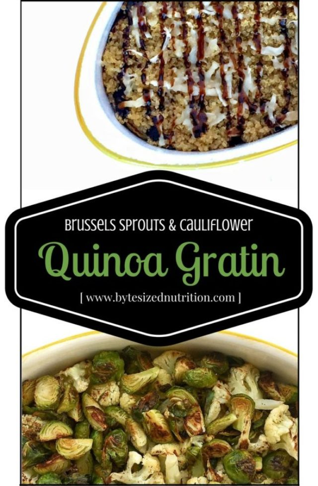 Brussels Sprouts and Cauliflower Quinoa Gratin | Balsamic roasted vegetables are coated in a light gruyere and parmesan cheese sauce, topped with a layer of crispy quinoa and baked to perfection www.bytesizednutrition.com