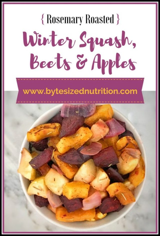 Rosemary Roasted Winter Squash, Beets and Apples   A healthy and colorful side dish to help your body detox after the holidays! www.bytesizednutrition.com