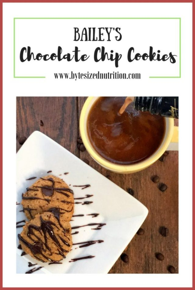 Bailey's Chocolate Chip Cookies | Gluten-free and maple-sweetened chocolate chip cookies infused with Bailey's Irish Cream and coffee and finished with a decadent Chocolate Bailey's drizzle. The perfect cookie for holiday gatherings! www.bytesizednutrition.com