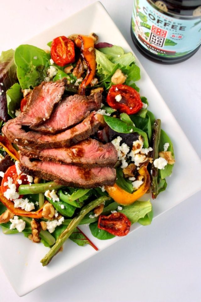 Coffee Marinated Steak Salad with Coffee-Infused Balsamic Vinaigrette is a restaurant-quality salad that comes together in a flash. Serve it as an easy weeknight dinner or prep a batch to enjoy for lunch during the week! Low FODMAP & gluten-free. | www.bytesizednutrition.com