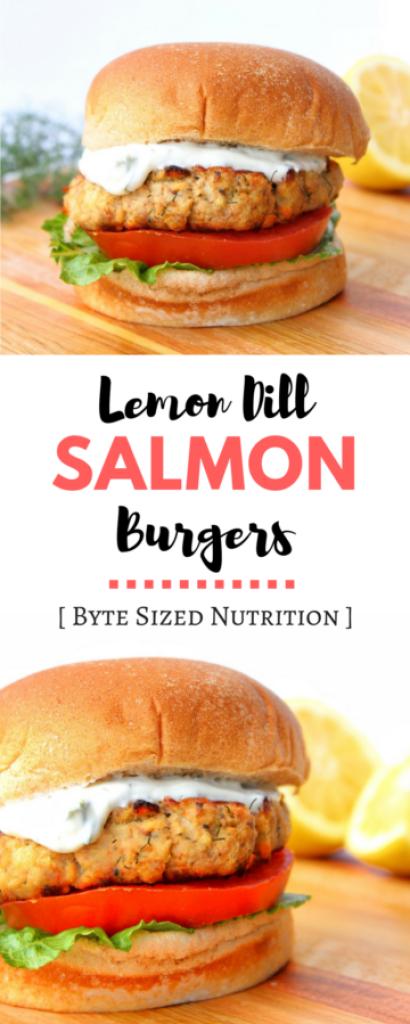 Lemon Dill Salmon Burgers with Yogurt Dill Sauce - Byte ...