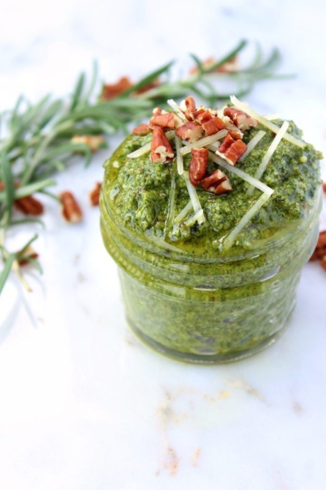 Say farewell to store-bought pesto! This easy and affordable Rosemary Basil Pecan Pesto takes minutes to make and adds a burst of color and flavor to pastas, sandwiches, pizzas, and more! | www.bytesizednutrition.com