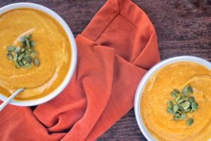 Copycat Panera Autumn Squash Soup | A lightened up version of the infamous fall soup made with NO heavy cream! | www.bytesizednutrition.com
