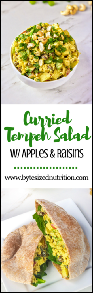 Looking for a quick and easy vegetarian meal? This Curried Tempeh Salad with Apples & Raisins comes together in just 10 minutes for the ultimate make-ahead lunch. Slightly savory, slightly sweet, and full of probiotics to support your immune system and promote gut health! | www.bytesizednutrition.com