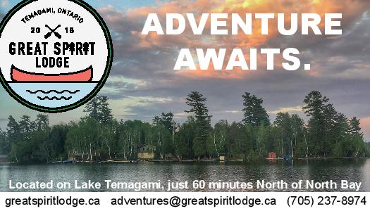 A photo of the water on Lake Temagami with the logo in the top left and 'adventure awaits' in bold writing with contact information.