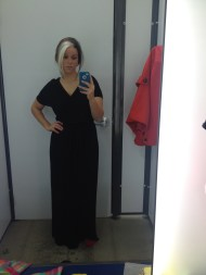 The black dress from Old Navy. It runs big, but I was ok with getting a small size!