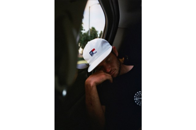Alex Campbell snoozing on the way to the airport