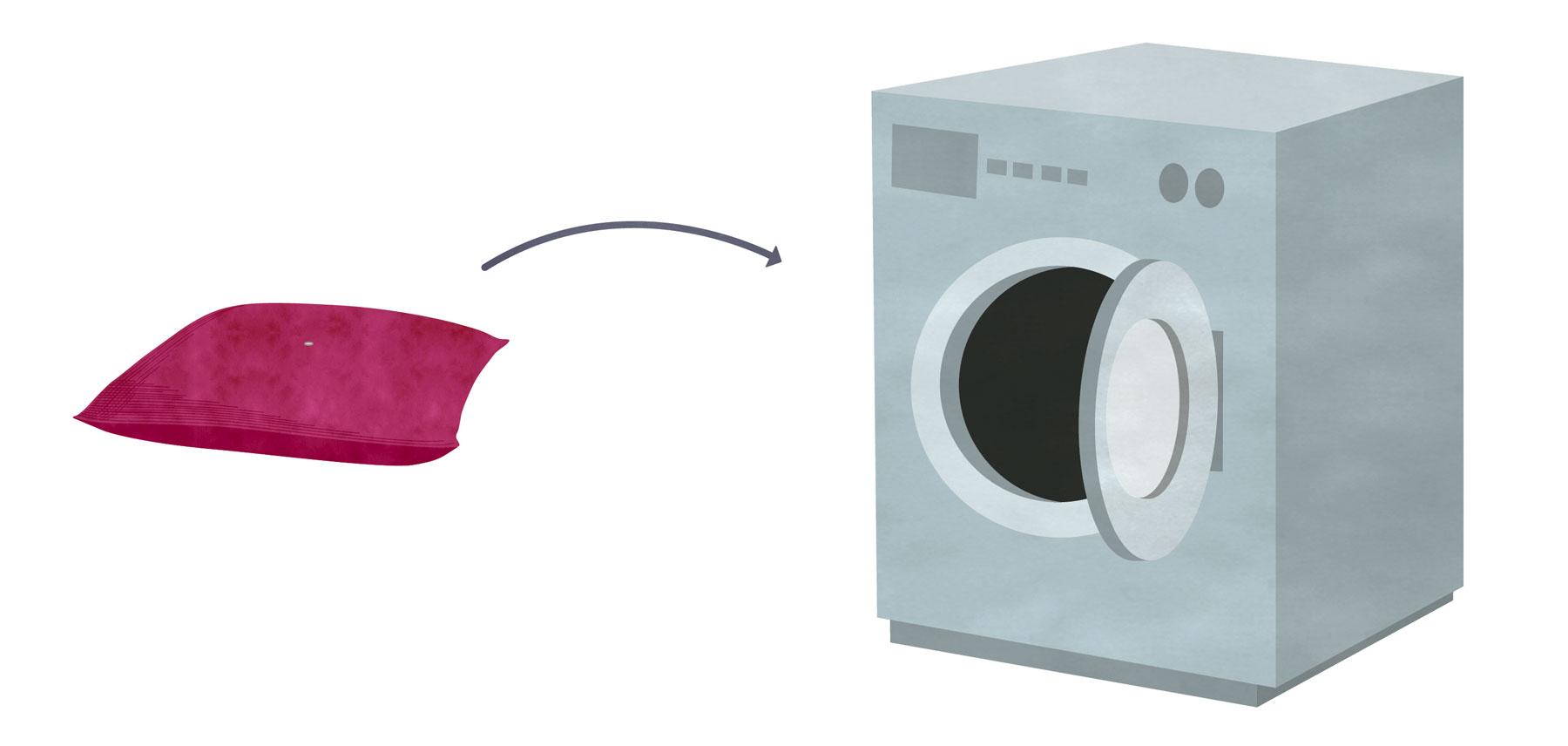 Vaskevejledning trin 3 - Smid puden, uden knapper og metalkrog, i vaskemaskinen, ved 40 grader.