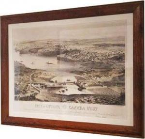 Ville d'Ottawa, Canada Ouest, c. 1859, Stent & Laver Architects, une lithographie, Musée Bytown, P586.
