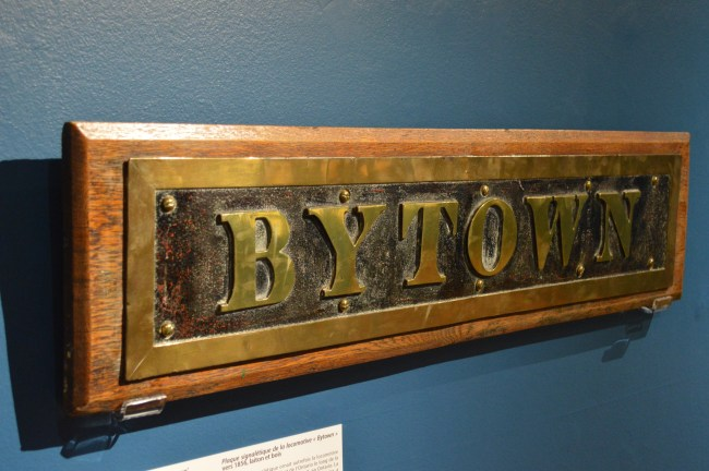 "This name plate was on the ""Bytown"" locomotive, which was used on the railway until 1895. It is on display at the Bytown Museum as part of the Century of Community exhibit."