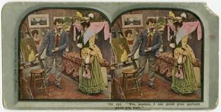 Le MUSÉE BYTOWN possède une diapositive colorée destinée au stéréoscope, dont la légende se traduit ainsi : Oui, madame, je peux peindre votre portrait pendant que vous attendez. Cette diapositive, première d'une série de six images, est reproduite avec l'aimable autorisation du MUSÉE BYTOWN (P1788a).