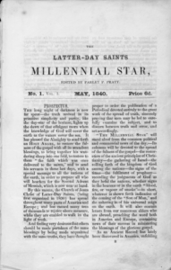 The masthead of the first issue of the Millennial Star (May 1840).