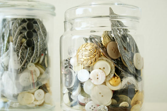 Latest thriftstore find - Vintage buttons in jars