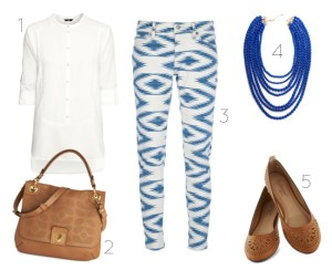 blue and white fashion outfit